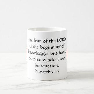 Bible Verses Wisdom Quote Saying Proverbs 1:7 Classic White Coffee Mug