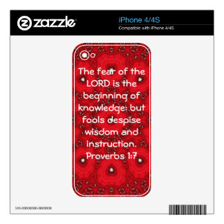 Bible Verses Wisdom Quote Saying Proverbs 1:7 iPhone 4S Decals