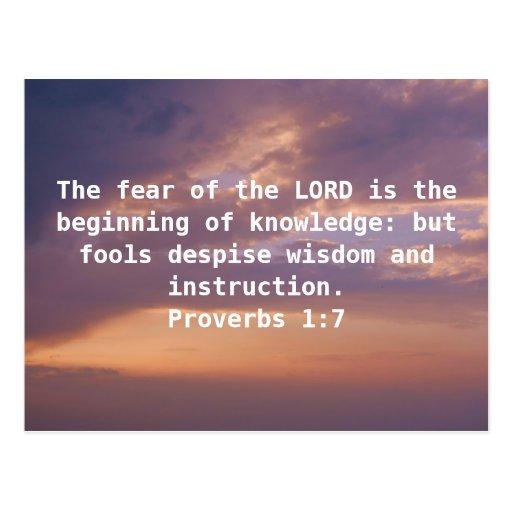 Bible Verses Wisdom Quote Saying Proverbs 1:7 Postcard  Zazzle