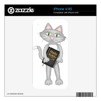 Biblia cristiana del gato skins para eliPhone 4