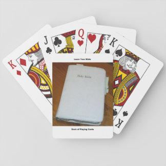 Biblia cristiana que aprende la cubierta de barajas de cartas