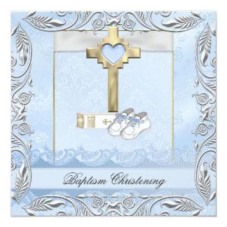 """Biblia cruzada azul del bautizo del damasco del invitación 5.25"""" x 5.25"""""""