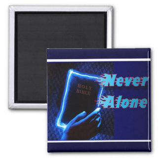 Biblia iluminada nunca sola imán cuadrado