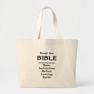 Biblia - instrucción básica antes de dejar la tier bolsa tela grande