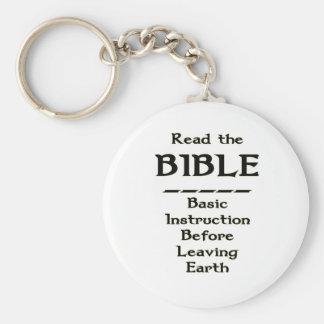 Biblia - instrucción básica antes de dejar la tier llavero redondo tipo pin