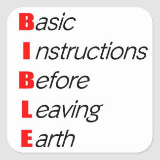 Biblia, instrucciones básicas para dejar el regalo pegatina cuadrada