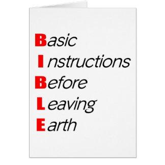 Biblia, instrucciones básicas para dejar el regalo tarjeta de felicitación