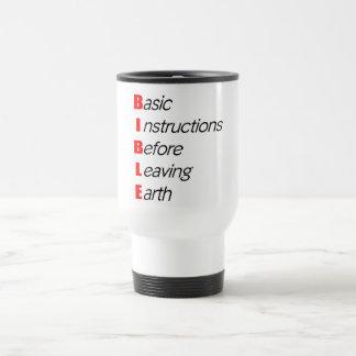 Biblia, instrucciones básicas para dejar el regalo taza térmica