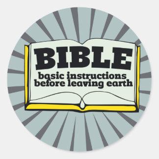 Biblia - instrucciones básicas pegatinas redondas