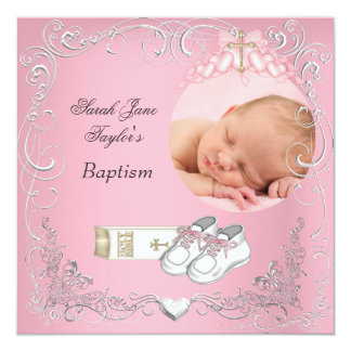 """Biblia rosada blanca del bautismo del bautizo de invitación 5.25"""" x 5.25"""""""