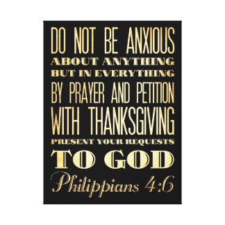 Biblia Scriptural cristiana - 4:6 de los filipense Impresión En Lienzo