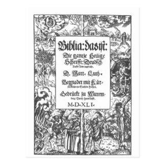 Biblia vieja de Luther de la página delantera Tarjetas Postales