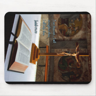 Biblia y cruz del 41:10 de Isaías Tapetes De Ratones