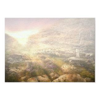 """Biblia - Yea, aunque camino a través del valle Invitación 5"""" X 7"""""""