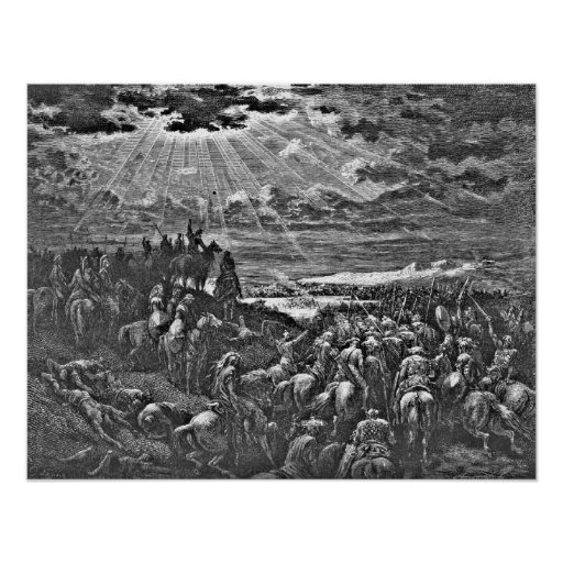 Biblical Battle Scene Engraving Gustave Dore Poster
