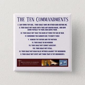 """Biblical Signs """"Ten Commandments"""" Button (BLUE)"""