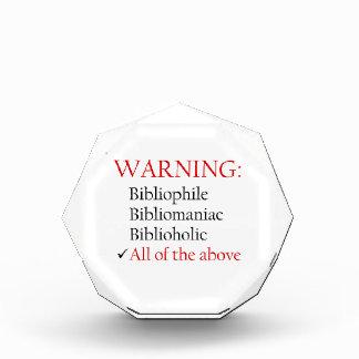 Biblio Warning Notice Acrylic Award