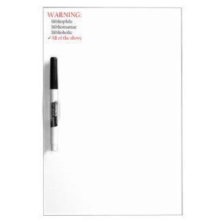 Biblio Warning Notice Dry-Erase Whiteboards