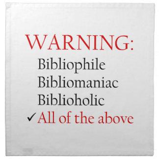 Biblio Warning Notice Cloth Napkins