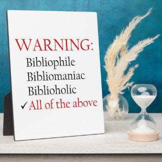 Biblio Warning Notice Photo Plaque