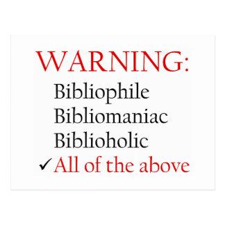Biblio Warning Notice Postcards