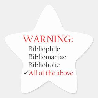 Biblio Warning Notice Star Sticker