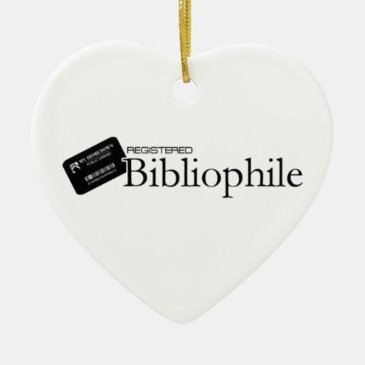 Bibliófilo registrado adorno navideño de cerámica en forma de corazón