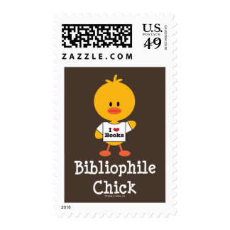 Bibliophile Chick Postage Stamps