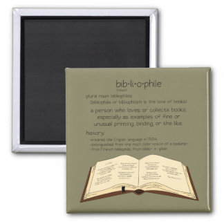 Bibliophile - Choose Color 2 Inch Square Magnet