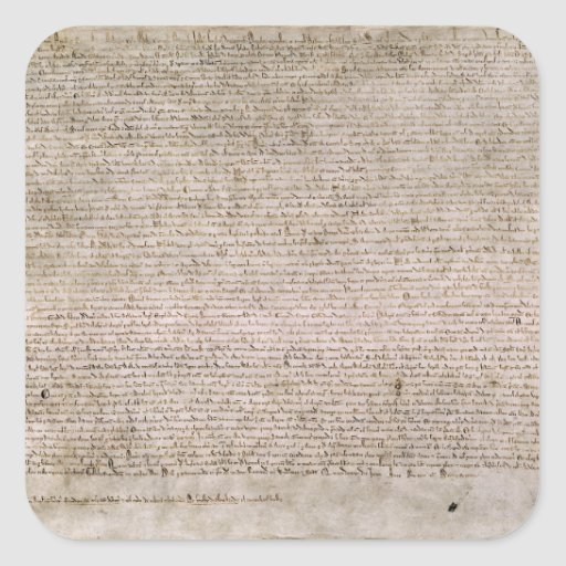 Biblioteca Británica 1215 de la Carta Magna de la  Pegatinas Cuadradases Personalizadas