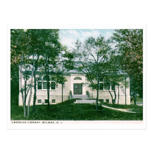 Biblioteca de Carnegie, Belmar, vintage de NJ Postales