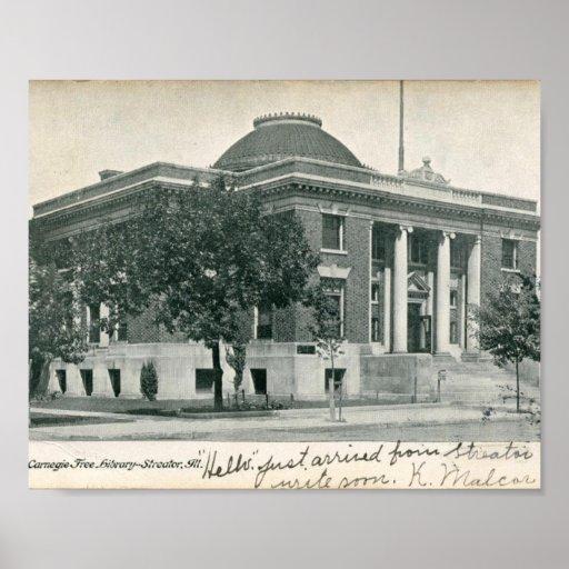 Biblioteca de Carnegie, Streator, vintage de IL Impresiones