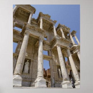 Biblioteca de Celsus, construida en el ANUNCIO 114 Póster