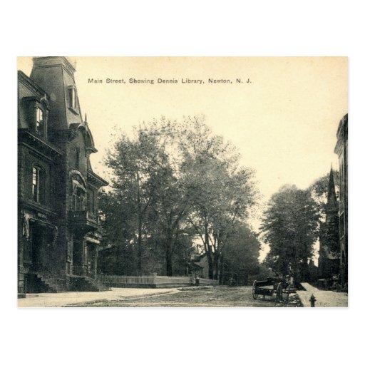 Biblioteca de Dennis, vintage 1908 de Newton New Tarjetas Postales