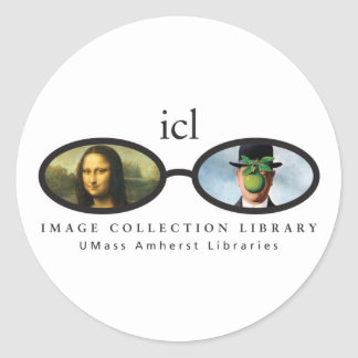 Biblioteca de la colección de la imagen pegatina redonda