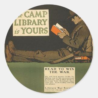 Biblioteca del campo de WWI Pegatina Redonda