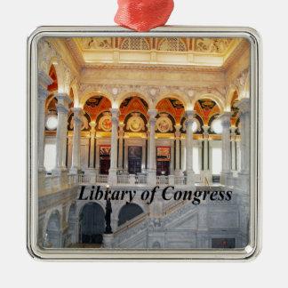 Biblioteca del Congreso Adorno Navideño Cuadrado De Metal