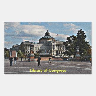 Biblioteca del Congreso en modelo de mosaico Pegatina Rectangular