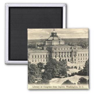 Biblioteca del Congreso, Washington DC, vintage 19 Imán Cuadrado