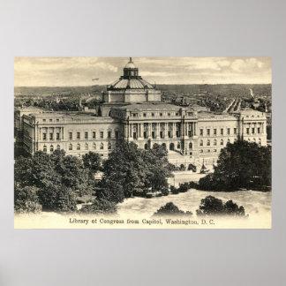 Biblioteca del Congreso, Washington DC, vintage 19 Póster