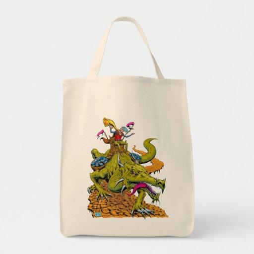 Biblioteca del dragón bolsa lienzo