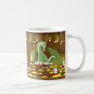 Biblioteca del dragón tazas de café