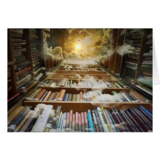 Biblioteca en el cielo tarjeta de felicitación
