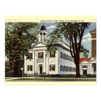 Biblioteca, Lenox, vintage 1932 de Massachusetts Postales