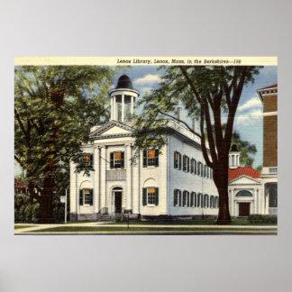 Biblioteca, Lenox, vintage 1932 de Massachusetts Póster