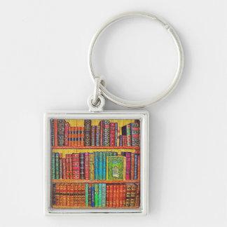 Biblioteca Llavero Cuadrado Plateado
