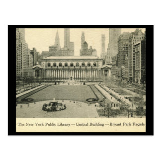 Biblioteca, parque de Bryant, vintage de New York Tarjeta Postal