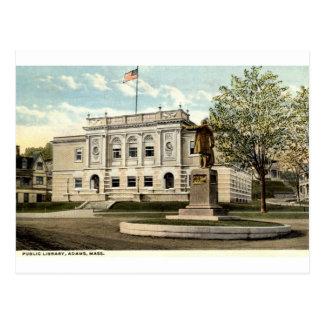 Biblioteca pública, Adams, Massachusetts 1917 Tarjeta Postal