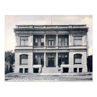 Biblioteca pública, Appleton, Wisconsin, vintage Postal