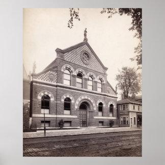 Biblioteca pública de Portland, Maine circa 1890 Poster